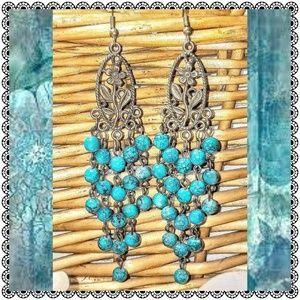 Earrings, vintage style filigree & turquoise beads